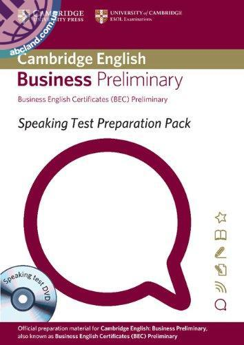 Speaking Test Preparation Pack for BEC Preliminary Paperback + DVD